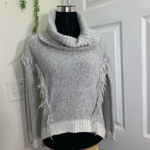 RD Style Cowl Turtleneck Fringe knit Sweater
